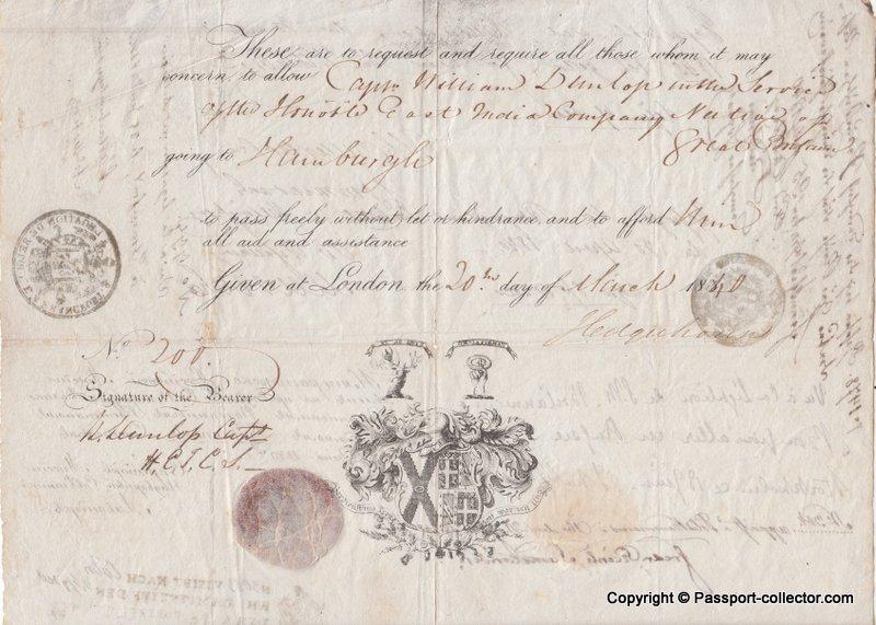 Free Hanseatic Republics Passport Issued At London 1840