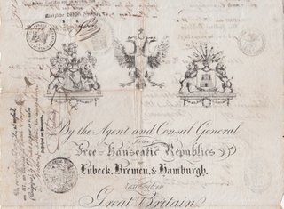 Free Hanseatic Republics Passport Issued At London 1840