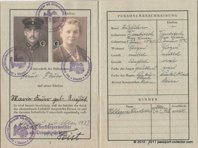 East German Territory Passport • Glogau 1933 • Lower Silesia