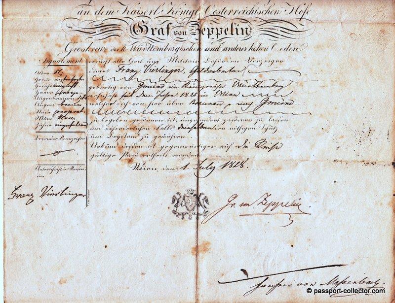 Ferdinand Ludwig von Zeppelin Passport 1828