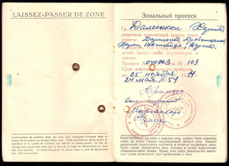 Zonal Travel Permit 1954 for occupied Germany