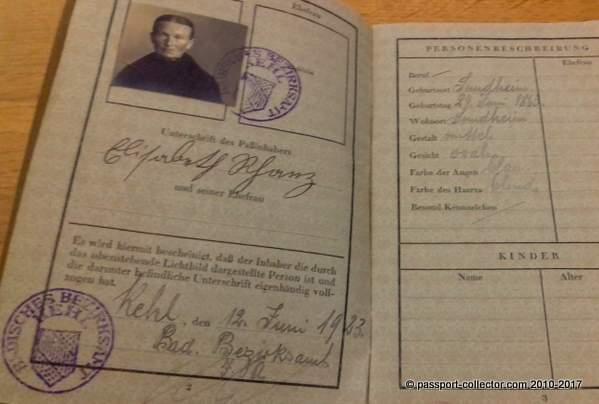 German Passport - Allied Occupation Of The Rhineland
