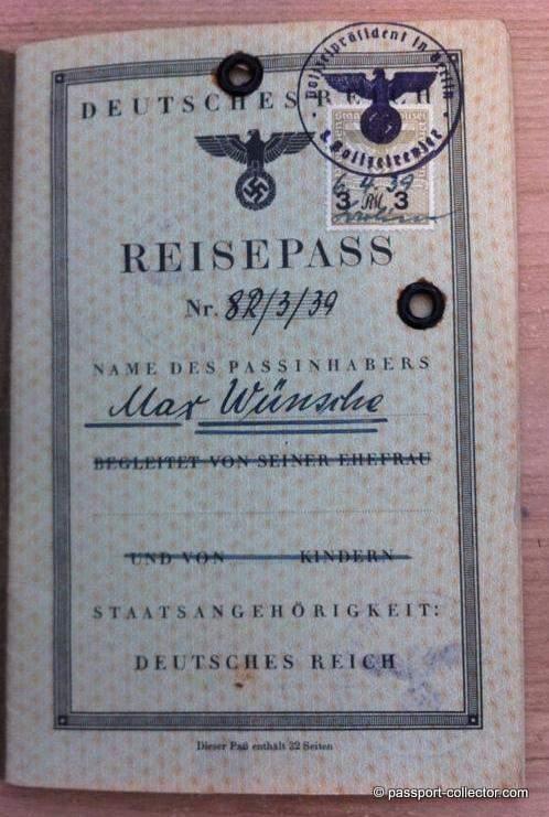 Passport of Hitler's personal aide and SS commander - Max Wünsche