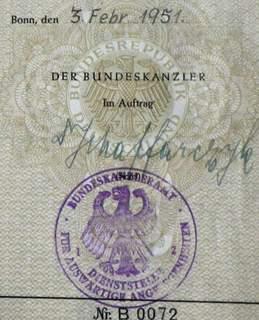 German History – Departmental Passport 1951 New York