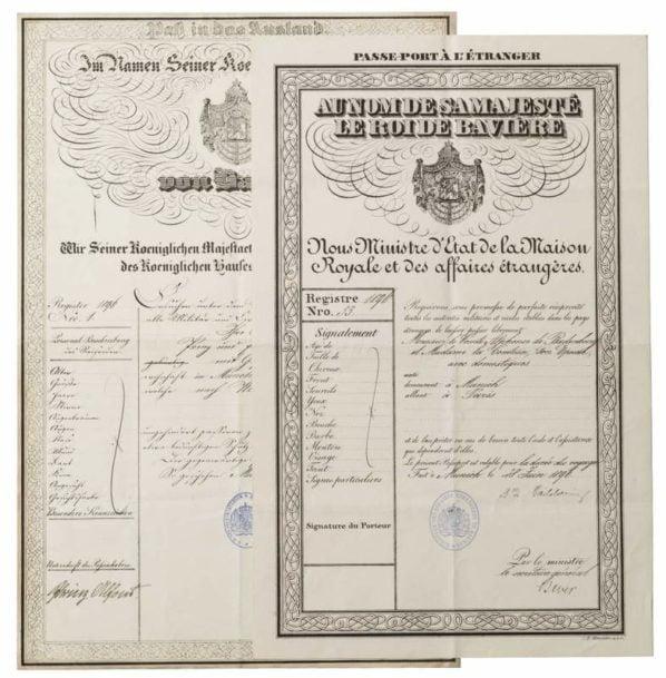 Several Royal Passports of Prince Alfons of Bavaria