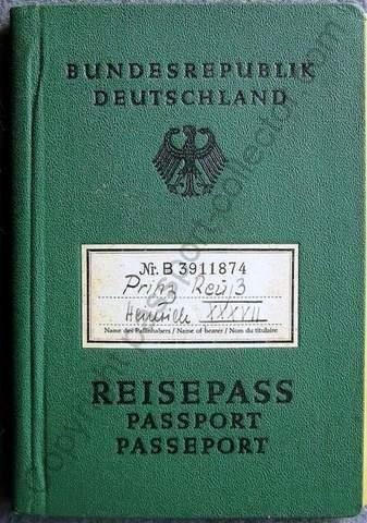Passport of Prince Reuss – Heinrich XXXVII