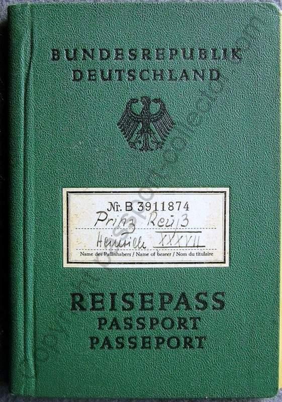 German Passport Prince Reuss 1961