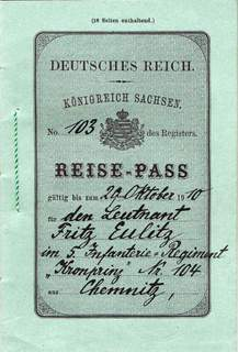 Kingdom of Saxony passport 1910 issued by the war department