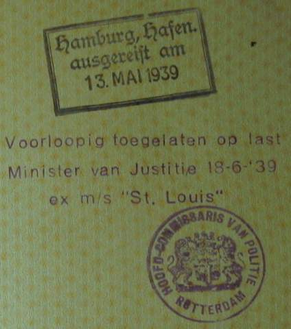 St Louis Passenger's Passport – Jewish Refugees Nobody Wanted