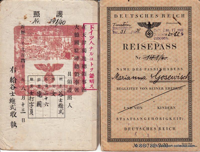 German Passport 1940 Tientsin