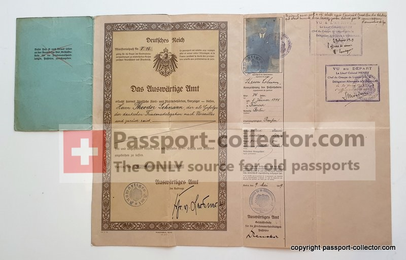 Diplomatic Passport Treaty Versailles