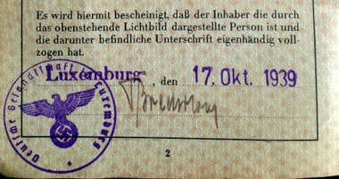 Nazi Germany Passport issued in Luxembourg