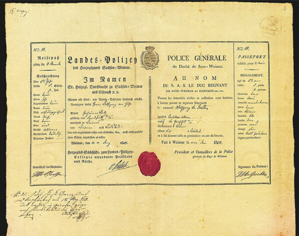 Wolfgang von Goethe's Passport from 1808 to travel to Carlsbad