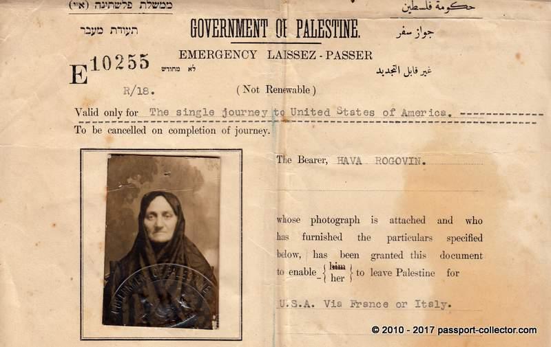 Government Of Palestine 1924 Emergency Passport