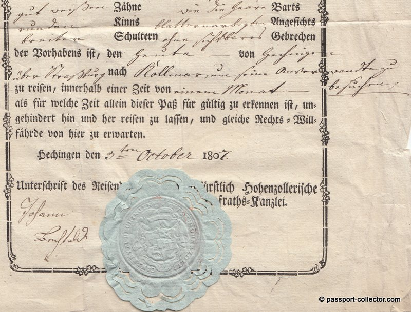 Passport Principality of Hohenzollern, Hechingen 1807