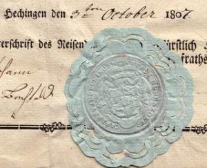 Passport Principality of Hohenzollern, Hechingen 1807