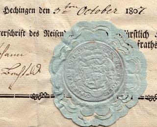 Passport Principality of Hohenzollern Hechingen 1807