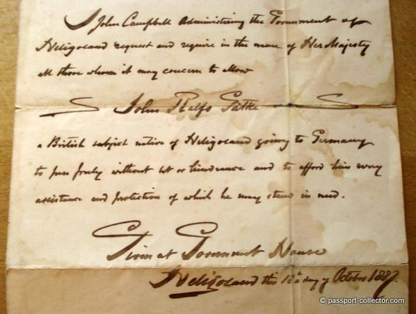 Handwritten Heligoland Passport - Government House 1881