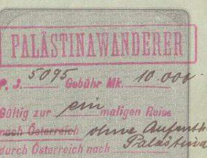 German Prussian Passport 1922 - Palestine Wanderer