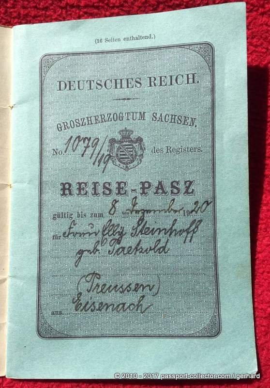 Grand Duchy Of Saxony 1919 - Rare Passport Of The German Empire