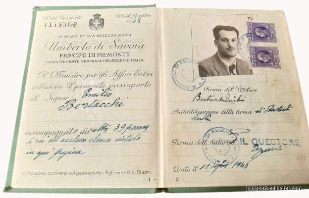 Passport of Italian 30-days King Umberto II