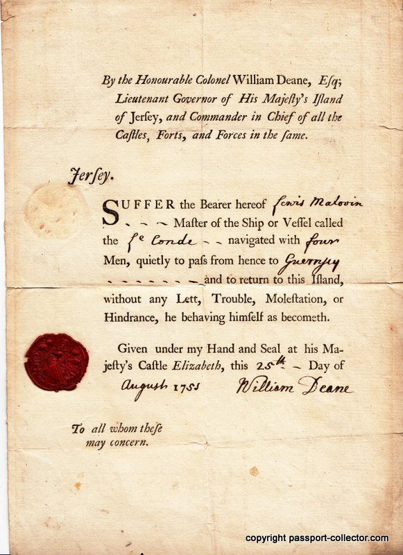 Island Of Jersey passport 1753