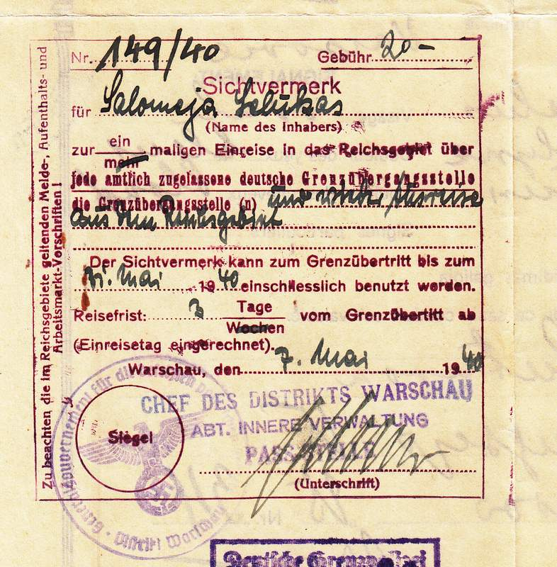 Lithuanian Passport Visa Issued By Warsaw Ghetto Commander's Department
