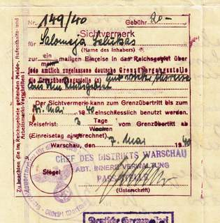 Visa 1940 Issued By Warsaw Ghetto Commander Department