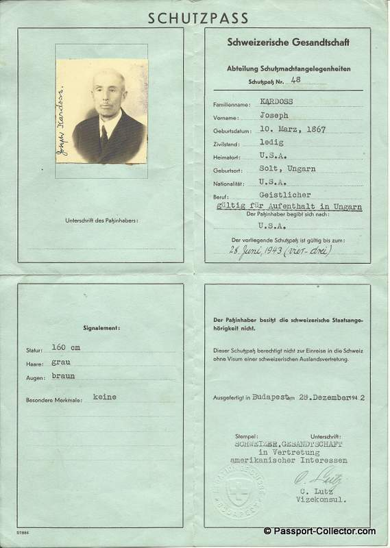 Schutzpass (protective passport) no.48 to KARDOSS JOSEPH