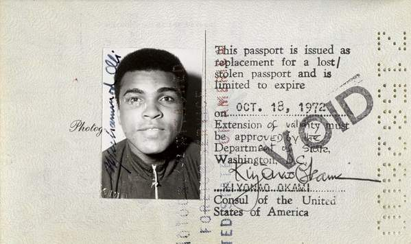 US passport 1972 Muhammad Ali