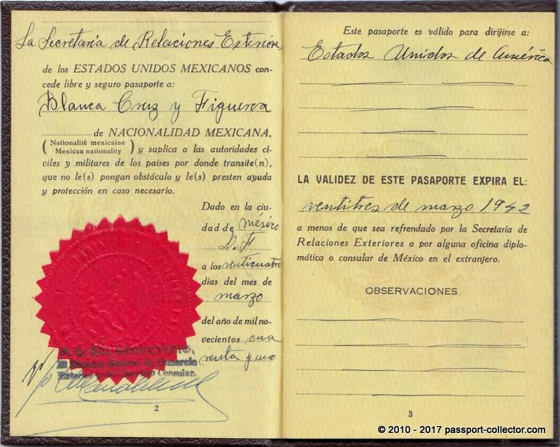 Mexican passport 1941