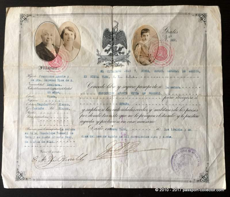 Mexican passport 1917 for three people