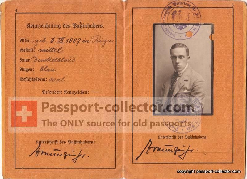 German Passport of Ernst Munzinger - Plot against Hitler