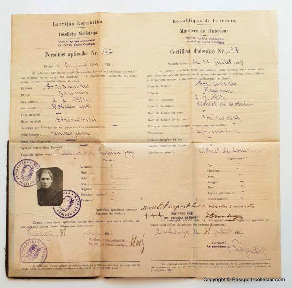 Nansen Passport 1923 For 20 Years Old Latvian Illiterate