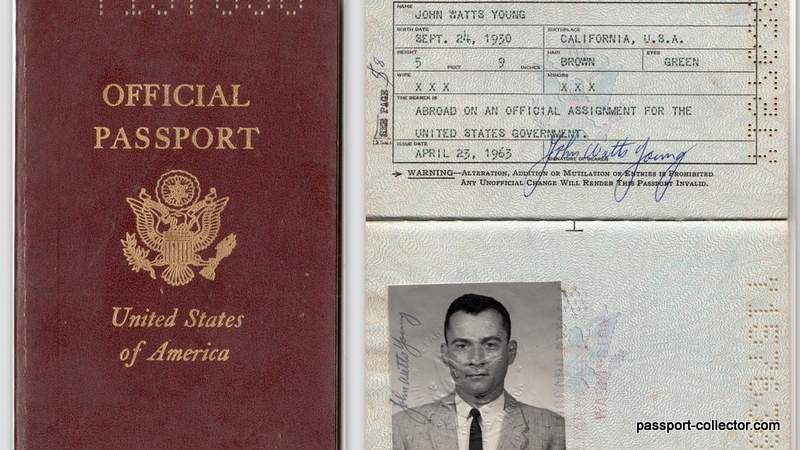 US astronaut Young passport