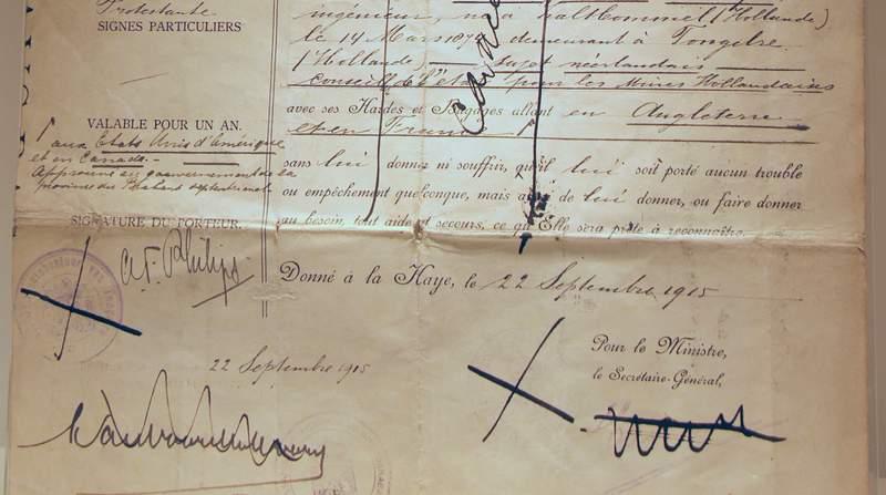 The Dutch Passport of Anton Frederik Philips issued 1915