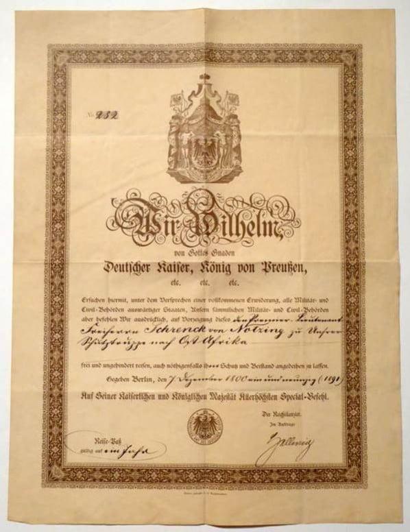German Empire Diplomatic Passport