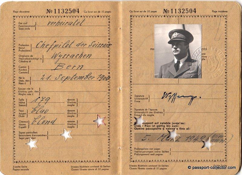 Swissair Chief Pilot Ernst Nyffenegger Passport