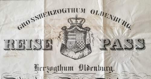 Large Grand Duchy of Oldenburg Passport 1864
