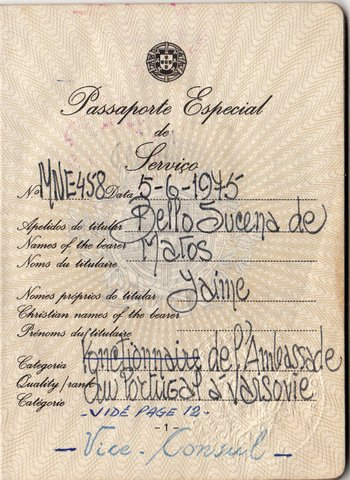 Passport of the Vice Consul at the Portuguese Embassy in Warsaw