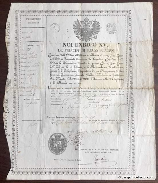 Prince Heinrich XV. Reuss zu Greiz  - Passport 1814