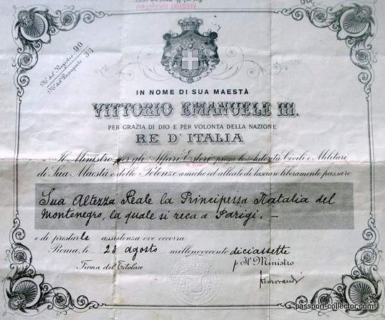 The Passport From Princess Natalja Of Montenegro Is Back To It`s Family