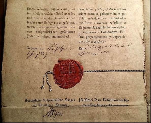 18th Century Protection Letter For Jewish Family