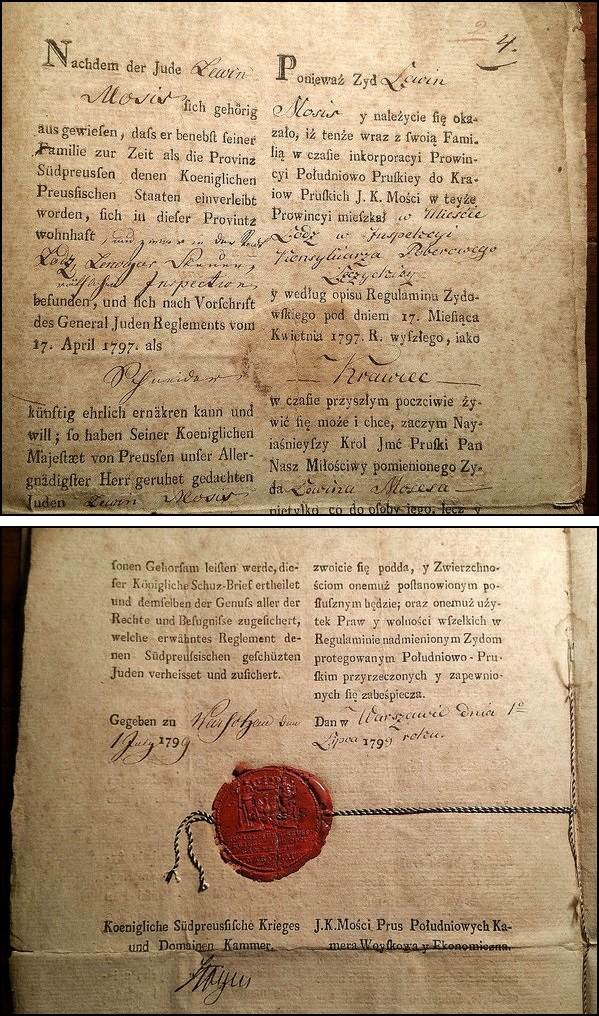 Prussian German Jewish Protection letter 1799