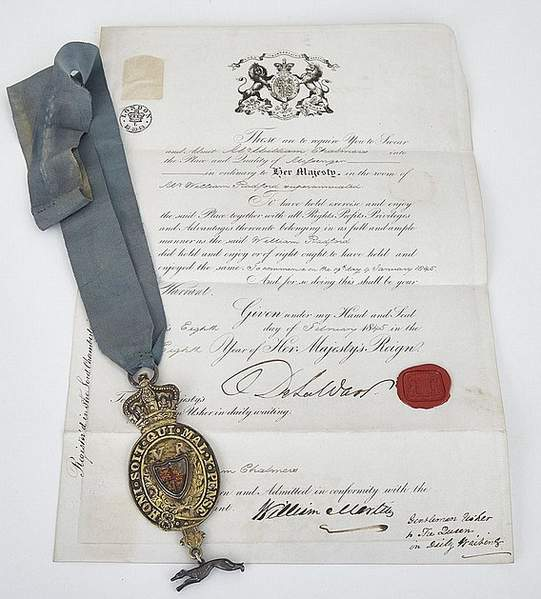 Queens messenger badge and nomination 1845