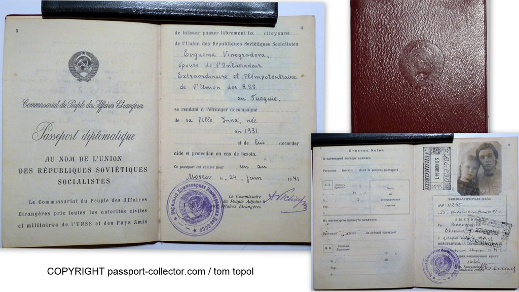 Marvelous USSR Diplomatic Passports 1941/69