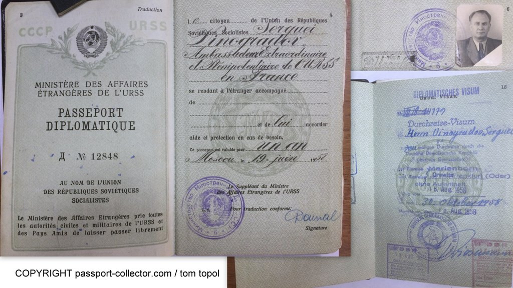 Vinogradov's diplomatic passport as USSR ambassador to France, 1958