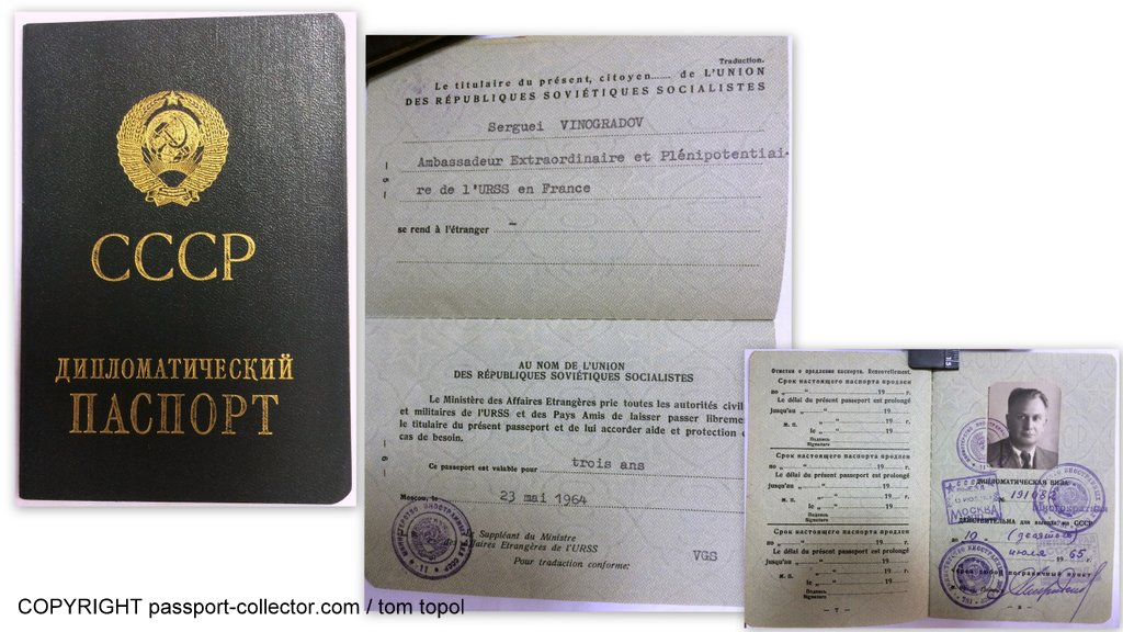 Vinogradov's diplomatic passport as USSR ambassador to France, 1964