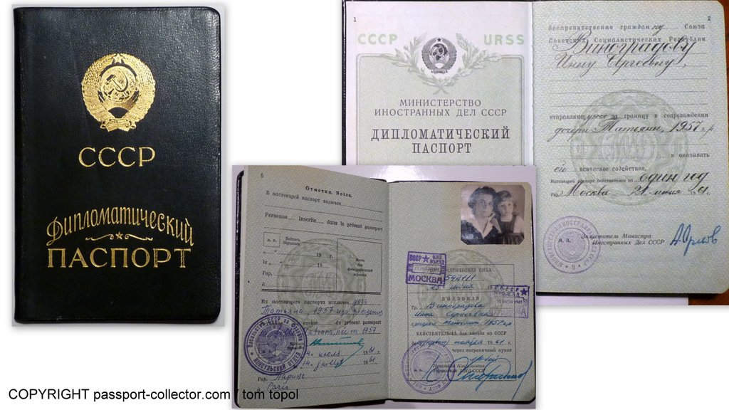 Vinogradov's wife/daughter diplomatic passport as USSR ambassador to France, 1961