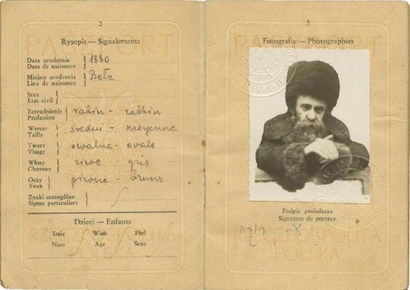 Rebbe Aharon Rokeach of Belz Polish Passport from 1948
